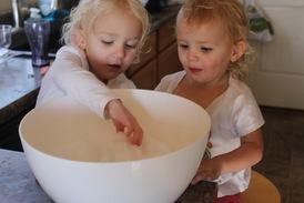 Kids making ice cream