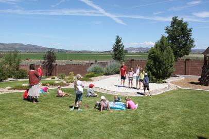 Kids outside playing.
