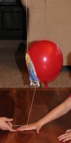 Balloon rocket in action