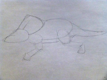 Loght sketch of dinosaur