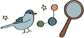 An illustration of a bird, an molecule, and a magnify glass