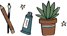 An illustration of a pencil, a paint brush, a paint tube, and a succulent